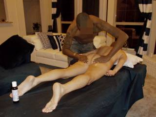 In-home massaging hot wife