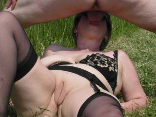 wife snacking on my cock outdoors