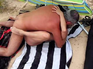 I ama taking with a stranger at the beach in front of my cuckold husband