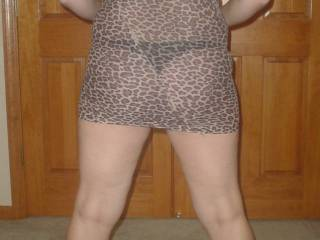I love the way she looks in her sheer leopard dress and her sexy heels. I am dying to bend her over, pull her dress up, yank her panties aside and fuck her right there in the middle of the room.