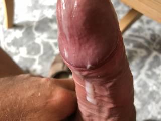 Mmmmmm just love seeing my hot spunk dribble down my rock hard shaft mmmm need a clean up! Any volunteers?..