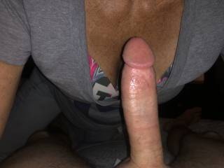 Sucking his cock is my favorite pastime I love the taste of his cum.I want more please cum.