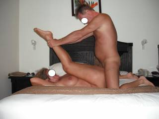 Fucking me deep and hard in our room at the Hotel in Fiji where we went for a romantic holiday. Good job I keep fit and supple with yoga. He loves to push my legs right back and to penetrate me extra deep with his big thick cock.