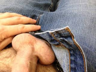 I have a thing for men in jeans with his cock egging to be let free to have some fun.  Mmmm :) Pleasure