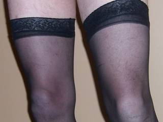 wearing my wife\'s stockings to get hard and squirt cum all over her dress