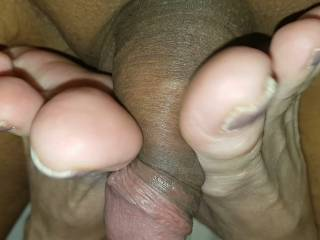 she enjoyed and so did I smashing my cock with her sexy feet up close
