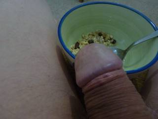 After a totally amazing night and morning where my fb took care of my morning wood,i wonder if a little breakfast might perk him up again?