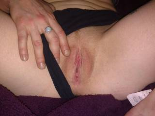 My redhead wife shows off her beautiful pussy