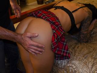 """Love the feel of her flesh as I smack her ass. I usually will rub and caress right before each spanking and make her count """"1 Sir...2 Sir..."""""""
