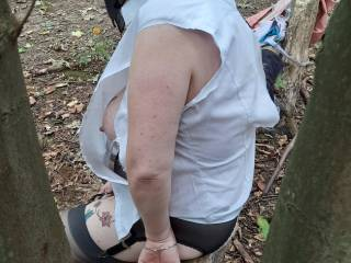 As Sally had her face fully covered she was generally unaware where I was at any particular time.... Having her exposed in a public location was great fun. I was determined to rip her shirt to shreds!