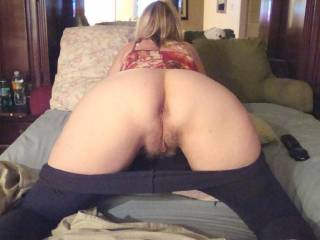 mmm that is a sexy arse and pussy.. Feel my cock stretching you up as i fuck you hard from behind xxx