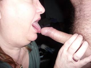 mmmmmmmmmmmm! love to have some of her tongue action on my hard cock!