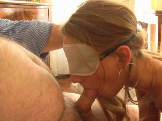 Met this girl in Paris on Craigslist. Young and ready to cum. I took my blindfold from the airline and made her suck me with it on.