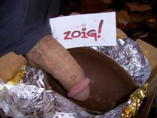 oh yes,would luv to melt the chocolate onto that gorgeous cock and slowly lick it off....hmmm....did i tell you I like cream with my chocolate as well.....