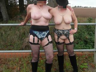 wife with girlfriend outdoors