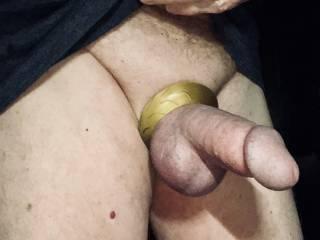 Fat cock ring makes my cock so stiff and balls so tight.
