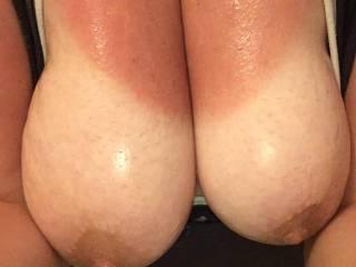 Bbw girlfriend showing off her tanned boobs