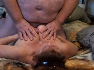 4th of a set of 4 pictures showing a powerful cumshot that shot all the way up to her face and all over those magnificent tits. Any one interested in cleaning us up with their tongue and mouth?