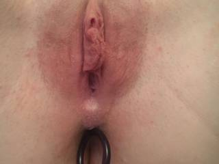 Ass full of anal beads and pussy ready to be stuffed..