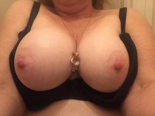 Big tits, favorite card necklace (not pearl, though, which is a fave). Yes, they're real.