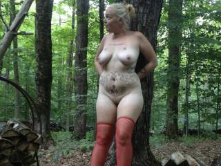 Camping fun . My wife loves being naked outdoors.