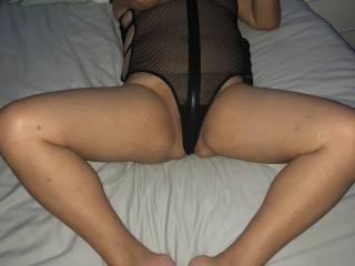 Spreading my legs for him, new fishnet lingerie from Lovehoney