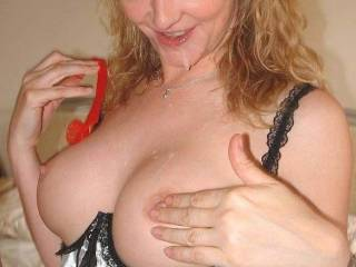 Chloe loves seeing the cum dribble down her breasts
