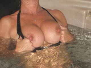 Full, firm, hard erect nipples showing the level of arousal - is your cunt as engorged and your clit as hard and erect as your nipples? What an erotic picture - want to let you know I can hold my breath underwater for at least five minutes!!!!