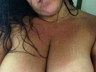 Great pair of tits! Would luv to lick 'em, slid my cock between 'em, and bust a huge nut on 'em....then lick them clean!