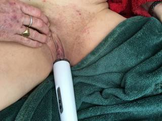 Magic wand, handle deep in her. She really needs a cock bigger than mine to satisfy her
