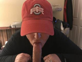 My wife sucking my cock first thing in the morning..... Go Buckeyes