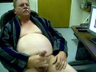 Old fat guy enjoying jerking off and cumming.