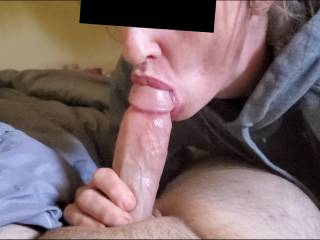 Sucking the tip as his cum starts to shoot the roof of my mouth