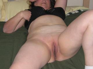Lying there naked...pussy showing....so NICE!