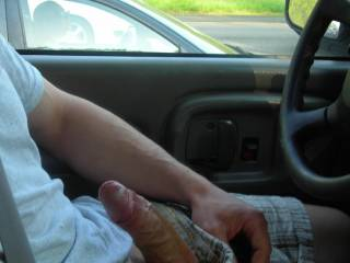 If she only knew...If I was there...she would have seen my head bobbing up and down....yeah I'd be sucking your cock. and swallowing your cum...you wouldn't have an accident would you?  I wouldn't want to explain what I was doing to a cop.  lol  K
