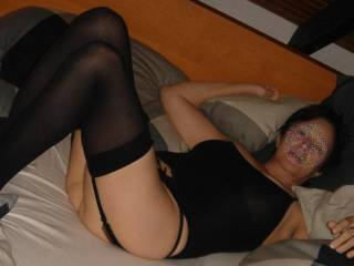 Oh my, open those beautiful legs in stockings and show me that hairy pussy!!!!!!!
