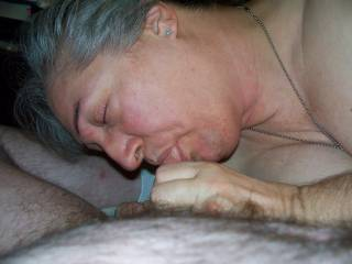 My bbw sucking my cock, who wants to be next