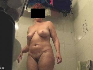 Wife in bathroom
