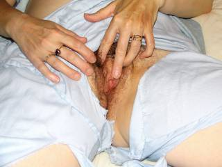 Playing with her very juicy pussy getting it ready