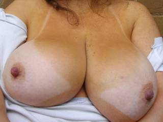 mmmmm awesome tits and nips we would love to play with them xxxx.