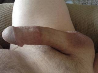 My cock and balls are smooth, with just a hint of hair on top. In serious need of a tongue!