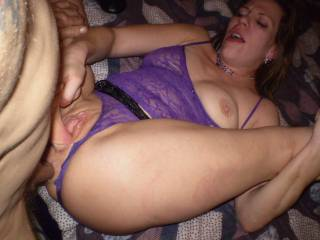 I have my dick jammed up her ass while she works her sweet pussy with a dildo!