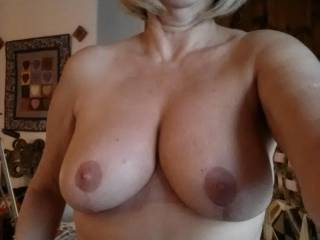 Gorgeous luscious beauties wanting to try and squeeze first one then the other in my wanting sucking mouth, then running my tongue around those glorious nipples kissing licking teasing and sucking them oh so good!