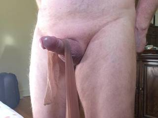 oh yes that nylon stocking on your cock and wrapped around it does feel good don't it