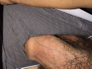 Pulling my hard cock out