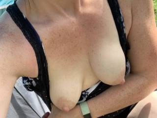 flashing tits in the campsite