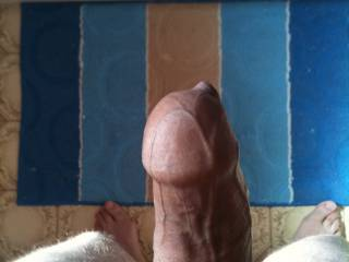 my girlfriend was playing with her pussy in the bath. this is me standing by the bath my cock is so hard and erect , she then sucked my hot meat till i shot my spunk all over her tits.