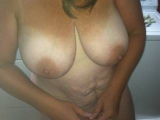 LOVE those tits!!  With a HOT body like that, who cares about some little stretch marks....  they are just a 'badge of maturity' or motherhood!!