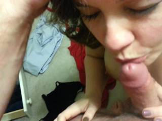 Amateur wife sucking and licking cock for cum