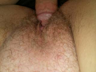 Tht Beautiful hairy pussy, Id love o feed you this cock anytime you wanted it
